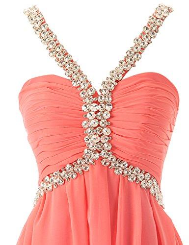 Dresstells Damen Abendkleid Ballkleid Lang Grecian Ausschnitt mit Schleppe DTK90007 Grau