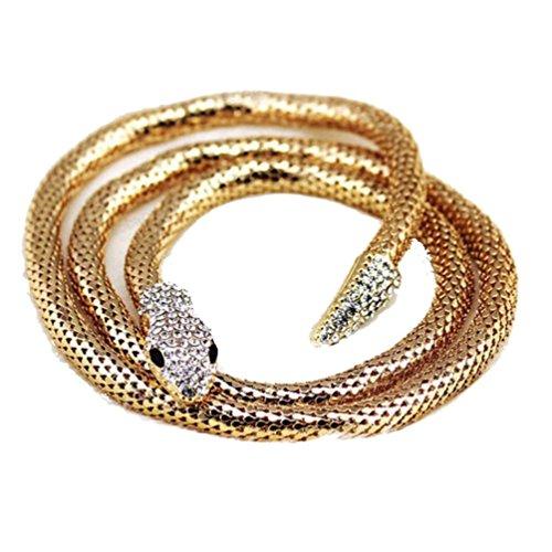 Sunnywill Mode übertrieben Dual-Zweck Gold / Splitter lange Form Schlange Halskette (Gold) (Mode-schmuck-schlange-ketten)
