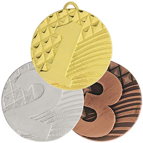 pokalspezialist 3x10 Stück Medaille ARNAR mit Zahl 1 2 3 Set 50 mm Stahl 3er Set je 1 x Gold Silber Bronze -