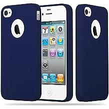 Cadorabo - Cubierta protectora Apple iPhone 4 / 4S de silicona TPU en diseño Candy - Case Cover Funda Carcasa Protección en AZUL-OSCURO-CANDY