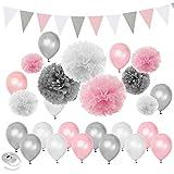 Rosa Silber Weiß unter dem Motto Baby Shower Party Dekorationen Hochzeit Geburtstag Supplies-Ballons Papier Pom Poms und Dreieck Banner
