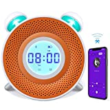 Danolt - Reloj despertador para niños, cargador USB, reloj despertador inteligente para dormitorio, 7 colores, luz nocturna con altavoz Bluetooth, reproductor de dormitorio, tiempo de cuenta atrás