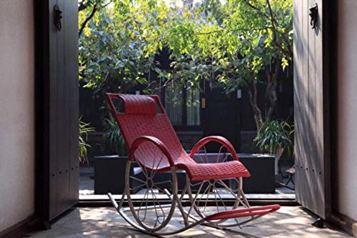 USDFJN Liegestuhl Relaxsessel Klappbar Outdoor Schaukelstuhl geformt erhältlich Rot 【QG*60152】