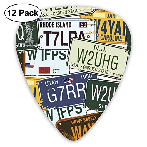 Guitar Picks 12-Pack,Original Retro Style License Plates Personalized Creative Travel Vacation -
