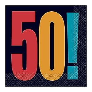 """50a Partido Ênico""""Cumpleaños Cheer"""" Papel Servilletas (paquete de 16)"""