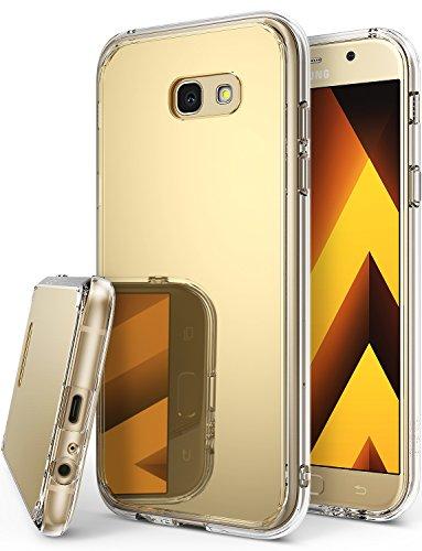 Custodia Samsung Galaxy A5 2017, Ringke [Specchio a Fusione] Brillante Paraurti Riflettente Radiante Di Lusso [Tecnologia Assorbimento degli Urti] Protezione Sottile di Tendenza Cover - Oro reale - Rosa Lucido Gift Box