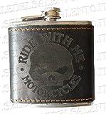 Selle del Salento Fiaschetta Skull in Pelle con Teschio Vodka, Whisky, liquore Harley
