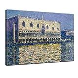Bilderdepot24 Leinwandbild - Claude Monet - der Dogenpalast - 120x90cm XXL Einteilig - Alte Meister - Bilder als Leinwanddruck - Kunstdruck - Leinwandbilder - Bild auf Leinwand - Wandbild