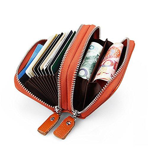 GRANDE VENDITA - 40% OFF - Artemis'Iris RFID Blocco mini supporto Carte Anti-Theft Zipper Accordion Piegato 2 parti principali della borsa del raccoglitore, marrone rose