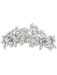 TENYE - Clip para el pelo de boda con flores de cristal austriaco y tono plateado transparente