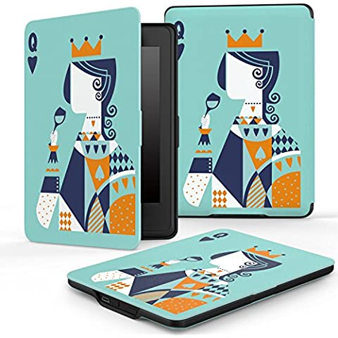 Kindle Paperwhite Funda, Moko Premium Thinnest And Lightest Leather Cover With Auto Wake / Sleep For Amazon All-New Kindle Paperwhite (Fits All 2012, 2013 And 2015 Versions), Poker Q