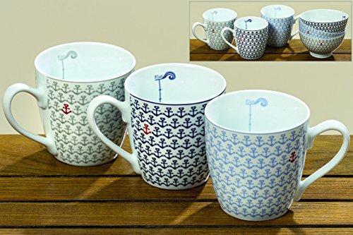 Dapo 3 x Jumbobecher Piet im Set Porzellan mit Anker Muster 400ml Kaffeebecher Tasse Becher maritim