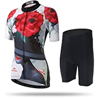 Pinjeer Digital Rose Printing 2018 Summer Women's Bicycle Cycling Jersey Ropa para Deportes al Aire Libre Ropa de Montar a Caballo, Transpirable Jersey Women Short Sets