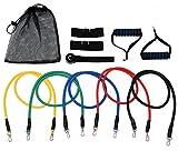 11 in 1 Resistance Bands Set 5 Widerstandsbänder mit Schaumstoff Griff, Fitnessbänder für Zuhause, Gym, Yoga Krafttraining Expander Muskeln Training Bänder Gymnastikband