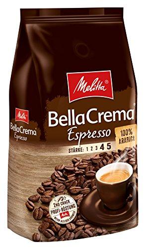 Melitta Ganze Kaffeebohnen, 100{1c7012d808bc1e581abda20898629e54e8cbb75271b095ce303091f98d326edc} Arabica, kräftig-würziger Geschmack, Stärke 4-5, BellaCrema Espresso, 1kg