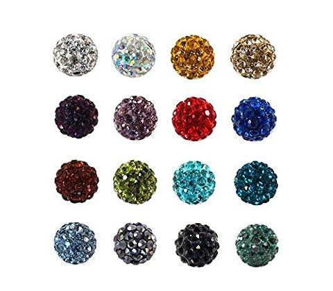 100pcs Mixed Color Pave Disco Ball Beads, 10mm Clay Rhinestone Crystal Shamballa Beads