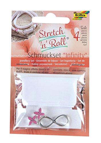 folia 93104 - Armbandbastelset Strech und Roll - Set Infinity, weiß