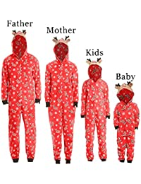 Jaysis 2018 Weihnachten Eltern-Kind Familie Strampler, Mama & Ich & Daddy Kapuzenshirt Familie Pyjamas Nachtwäsche Weihnachts-Outfit