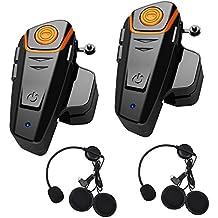 Sistema de auriculares Bluetooth de 1000 m de motocicleta de una nueva generación de cascos auriculares Bluetooth universal impermeable talkie walkie 2 o 3 pilotos y 2,5 mm mp3 Audio Radio FM, GPS manos libres (2 pieza)