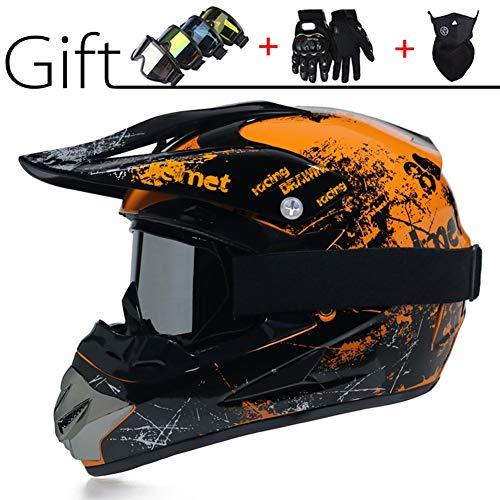 Motocross-Integralhelm, Classic Bicycle MTB-Helme, DH Racing-Helm, Rennradhelme(Mit Brille/Handschuhen/Masken/Helmnetz),M