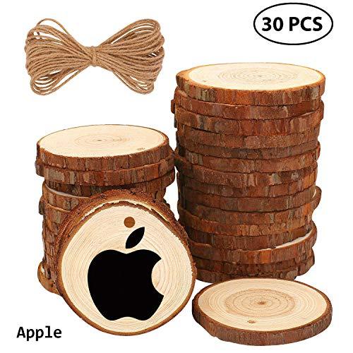 Fuyit Wood Slices 30 Pcs 6-7cm D...