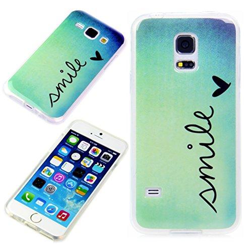 Handy Lux® Schutz Hülle Etui Silikon TPU Case Cover Design Motiv für Samsung Galaxy J1 Modell 2016 - Smile
