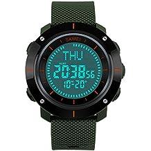 Relojes deportivos masculinos eYotto para el aire libre e impermeable con pantalla digital militar y con brújula / alarma / cronómetro para explorar, viajar, escalar, caminar, color Army Green