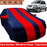 Autofact Car Body Cover for Hyundai Santro Xing (Mirror Pocket , Premium Fabric , Triple Stiched , Fully Elastic , Red / Blue Color)