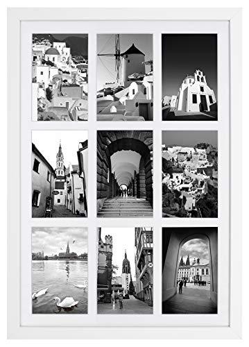 Golden State Art, 13,6x 19,7mattierte weiß Holz 9-opening für 4x 6Bilderrahmen Collage (öffnen Bilderrahmen 6)