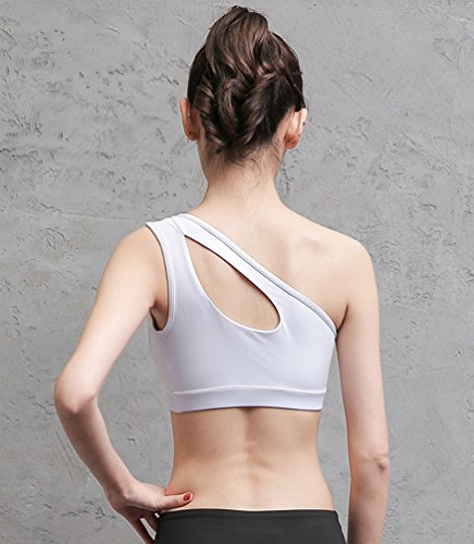 Anguang Donna Una Spalla Gilet Sportivo Traspirante Fitness Yoga Pilates Reggiseno Bra Bianca