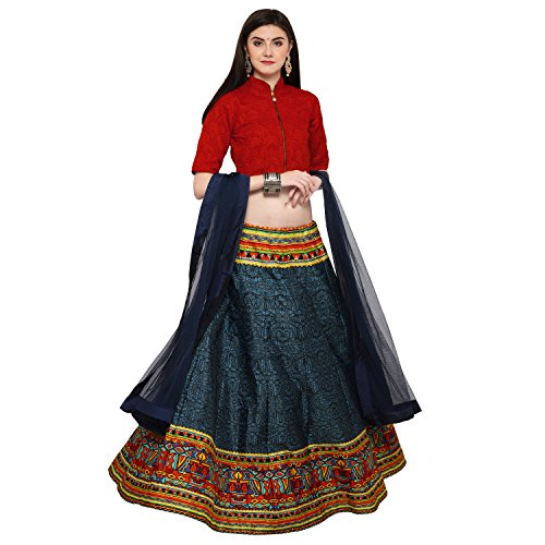 Zeel Clothing Red and Blue Designer Partywear Lehenga Choli Set