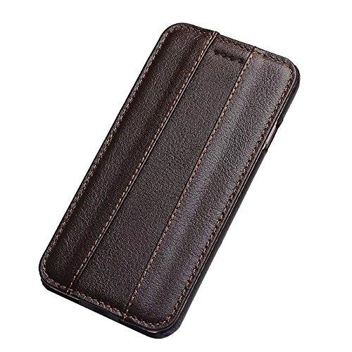 Echtes Leder Vertikale Folio Flip Case mit Magnetverschluss Slim Hard Back Cover für IPhone 7 ( Color : Wine ) Brown