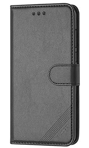 kazineer Cubot R9 Hülle, Leder Tasche Hülle Cubot R9 Schutzhülle Flip Case [Kartenfach] [Faltbarer Ständer] [Abnehmbarer Handschlaufe] Handyhülle für Cubot R9 2017 (Schwarz)