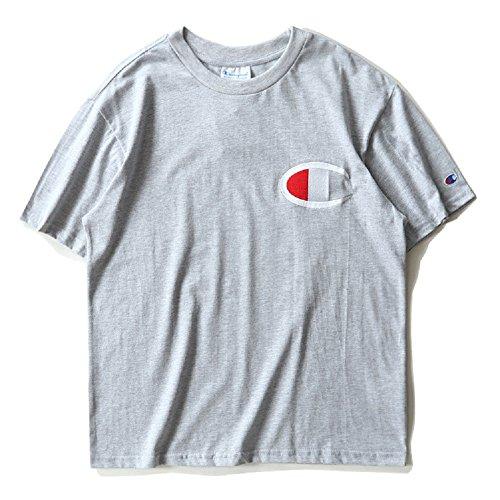BOMOVO Herren CHAMPION T-Shirt Mit Rundhalsausschnitt Grau