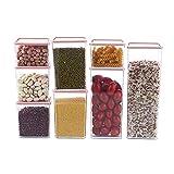 GJFLife Lebensmittel-lagerung-kanister mit Deckel, Quadratische Kunststoff Verschlossenen Glas Vielseitige Korn-Dispenser-A