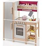83x95cm Buchen Holz Kinderküche mit Herd, Kühlschrank, Backofen in Silber Rot: Spielküche Holzküche Spielzeug Kinder Küche Arbeitshöhe 52cm