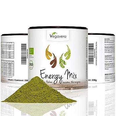 Superfood Energy Mix | 200g powder | 4 Superfoods | Matcha, Lucuma, Cacao & Wheatgrass | VEGAN & ORGANIC by Vegavero
