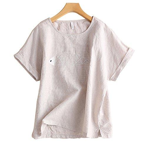 Xmy Kunst Van frische kleine Baumwolle der weiblichen Sommer Shirt Kurzarm Bettwäsche Sommer losen t-Shirt Striped Pullover sind Code, beige -