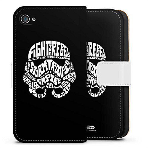 Apple iPhone 8 Plus Hülle Case Handyhülle Star Wars Merchandise Fanartikel Storm Trooper Typo Sideflip Tasche weiß