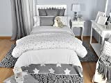 Tiendas Mi Casa - Funda Nórdica Reversible Estrellas (Cama 105 cm (180x220 cm), Gris). Disponible en Varios tamaños y Colores.