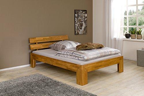 Französisches Bett 140x200 Doppelbett Eiche-Bettgestell massiv geölt ohne Zubehör 60.85-14 oR Französisch Bett