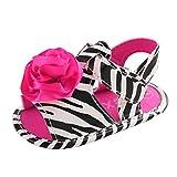 Vovotrade Niñito Niña Primer paso Cuna Zapatos Recién nacido Flor Suela blanda Antideslizante Bebé Piel de cebra Zapatillas Sandalias (11cm,0-6 Meses, Rosa caliente)