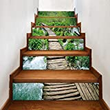 XXBFDT 3D Autocollants d'escalier Auto-adhésifs Imperm -Self-Adhesive Innovative Stairs Stickers Living Room DIY Mountain Stream Trail Decoration Home Waterproof Wall Stickers