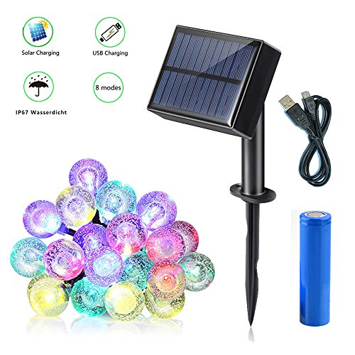 Garten Solar Lichterkette,Dekoratives Licht,String Lights Wasserdicht 8 Modes 16ft 20 LED,solar lichterkette außen warmweiß mit USB für Party, Weihnachten, Outdoor, Fest Deko (bunt) (Camp Lichter String)