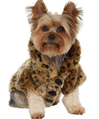 Yiwa Haustier Kleidung Generika Luxus Haustier Hunde Mantel Leopard Faux Pelz Jacke Winter Kleidung (M) (Arzt Kostüm Hund)