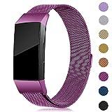 Onedream Kompatibel für Fitbit Charge3 Charge 3 Armband Damen Metall Edelstahl Ersatzarmband Lila