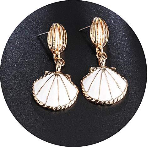 Seesaw-Min Trendy Blau Weiß Big Metall Shell-Tropfen-Ohrringe für Frauen Charm Schmuck Strand Boho Ohrringe Statement Pendientes, C1554-Weiß