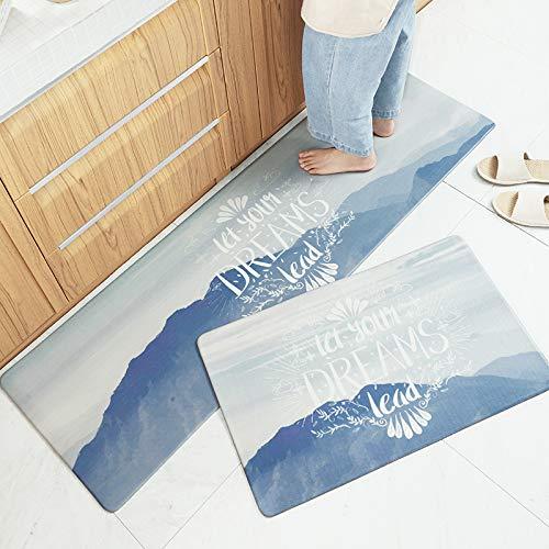 AZUO 3 Stück Zum Verkauf Haushalts Leder Teppich Marmorierung Küchen Streifen Wasserdicht Rutschfeste Ermüdungs Matte Fußkissen,C,M
