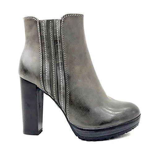 Bequeme Damen Stiefeletten Ankle Boots Plateau Knöchelhohe Stiefel Blockabsatz Kurzschaft 956 (40, Grau) (High Braune Heel-schuhe)