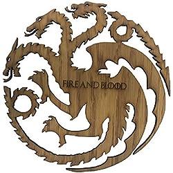Derwent Laser Craft Juego de Tronos Casa Targaryen Fuego y Sangre Madera de Tres Cabezas de dragón Sigil (35 centímetros x 35 centímetros)